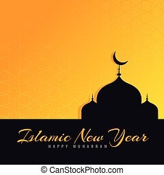 beautiful islamic new year greeting design