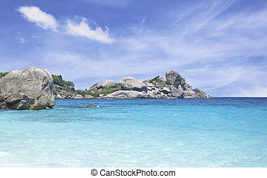Beautiful island and sea with blue sky in Thailand