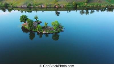 Beautiful island on river Ros, Ukraine