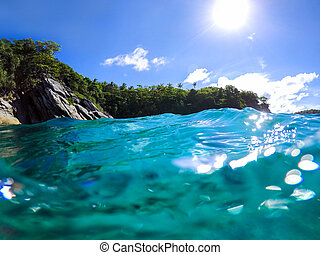 Beautiful Island with blue ocean and sky