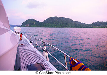Beautiful islands at dusk as seen from the deck of a ship