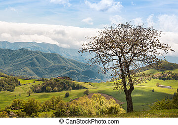 Beautiful Italian Countryside Landscape over Rolling Hills and Blue Sky