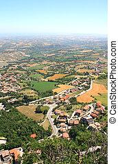 Beautiful Italian landscape. View from San Marino
