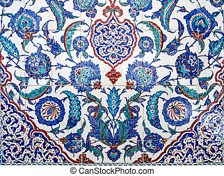 Beautiful Iznik tiles on tomb of Sultan Murad III, Istanbul