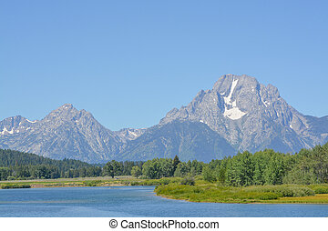 Beautiful Jackson Lake below the Teton Mountains in the Grand Teton National Park, Wyoming