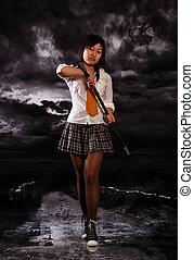 Beautiful japan girl - Beautiful japan schoolgirl with...
