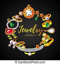 Beautiful Jewelry Accessories Round Concept - Beautiful...
