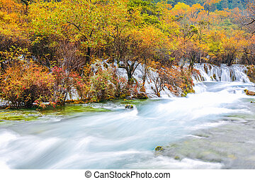beautiful jiuzhaigou in autumn