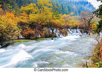 beautiful jiuzhaigou in autumn