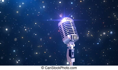Beautiful Karaoke Background with an Old Fashioned Microphone