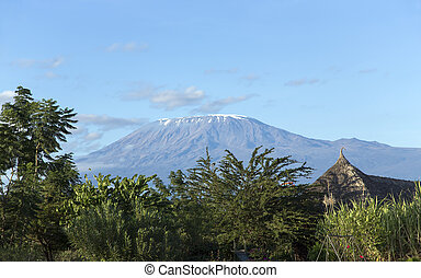 Beautiful Kilimanjaro mountain with a small cap of snow