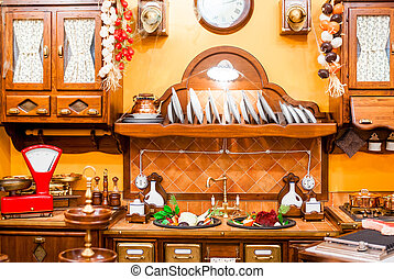 beautiful kitchen in a retro style with kitchenware