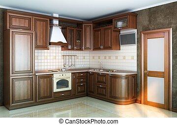 beautiful kitchen interior of wood