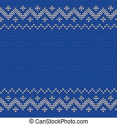 Beautiful knitted blue jacquard seamless pattern.