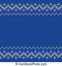 Beautiful knitted blue jacquard seamless pattern.