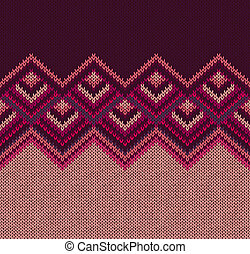 Beautiful Knitted Fabric Pattern, Red Pink Knit Style Seamless Vintage Texture