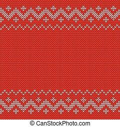 Beautiful knitted red jacquard seamless pattern.