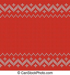 Beautiful knitted red jacquard seamless pattern.