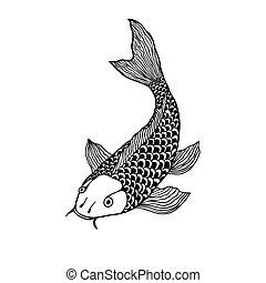 beautiful koi carp fish illustration in monochrome. Symbol...