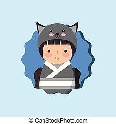 beautiful kokeshi doll in costume animal kimono vector...