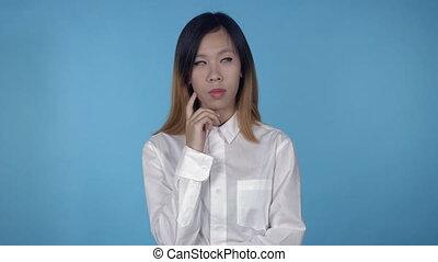 beautiful korean female have idea - young asian woman posing...