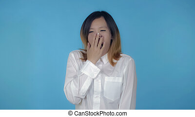 beautiful korean female shows insomnia