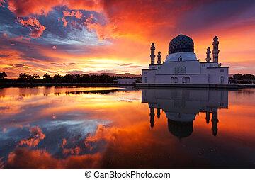 Beautiful Kota Kinabalu city mosque at sunrise in Sabah,...