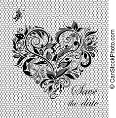 Beautiful lacy card with floral hea