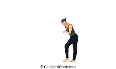 Beautiful and attractive lady continue dancing social latin dance, slow motion