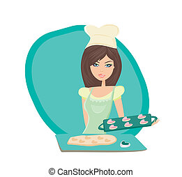 Beautiful lady cooking cookies