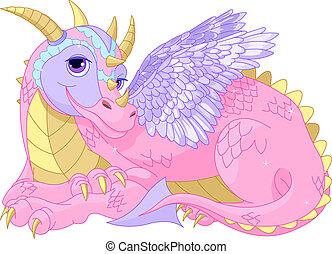 Beautiful lady Dragon - Illustration of Beautiful Cartoon...