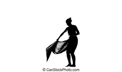 Beautiful, lady go on dancing social latin dance, slow motion, silhouette