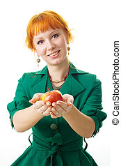 Beautiful lady holding an apple
