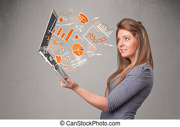 Beautiful lady holding notebook with graphs and statistics -...