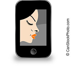 Beautiful lady in a mobile screen