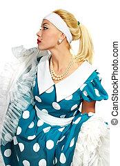 beautiful lady in a polka dot dress