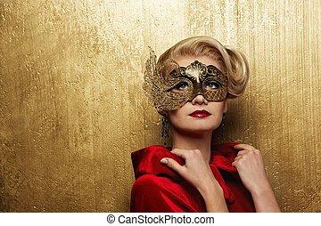 Beautiful lady in carnival mask
