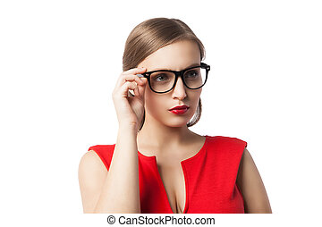 Beautiful lady in glasses thinking while looking up