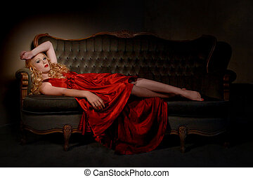 Beautiful Lady in Red Dress and Dramatic Lighting