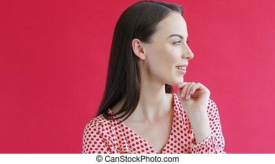 Beautiful lady in spotted garment