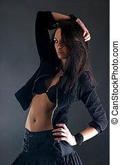 Beautiful lady over dark background