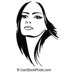 beautiful lady - portrait beautiful girl. vector...