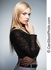 Beautiful lady posing in the studio
