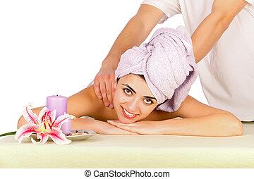Beautiful Lady Receiving Massage