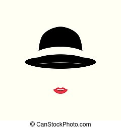 Beautiful Lady wearing vintage hat on white background.