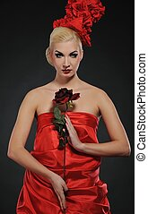 Beautiful lady with a rose