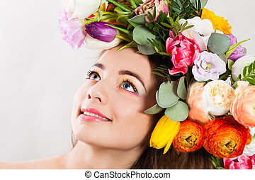 Beautiful lady with a wreath of spring flowers