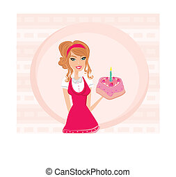 Beautiful lady with birthday cake