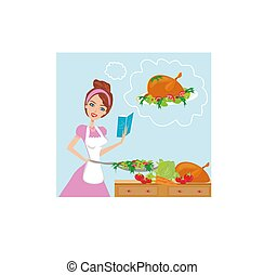 Beautiful lady with cookbook