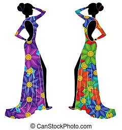 Beautiful Ladyes in long gowns